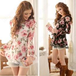 Summer-Long-Sleeve-Tops-T-Shirts-Floral-Ladies-Lace-Short-Mini-Dresses-Women-Cute-Waist-Top