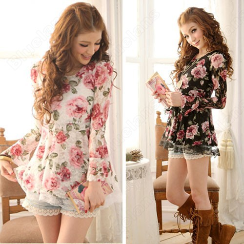 Summer-Long-Sleeve-Tops-T-Shirts-Floral-Ladies-Lace-Short-Mini ...