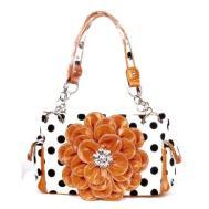 366-ANYTHINGEVERYTHINGSHOP-Polka-Dot-Metal-Chain-Rhinestone-Flower-Pocket-Handbag-Purse-ORANGE-for-Women-1