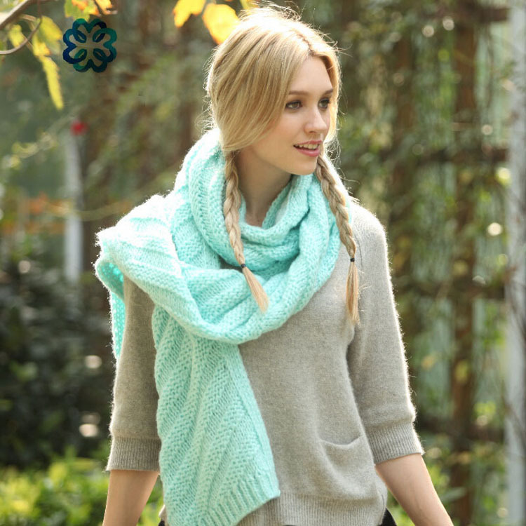 Hijab Scarf Women 2014 New Winter Fashion Lady Warm Knitted Scarves Solid Color Long Scarf Shawl