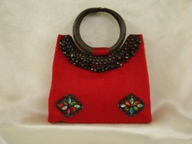 153_Red_raw_silk_purse