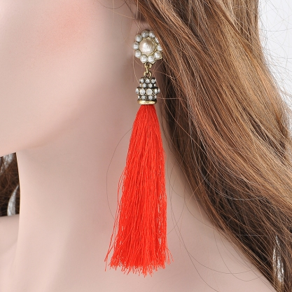 Fahion-Boho-Imitation-Pearl-Rhinestone-Long-Red-Black-Tassel-Drop-Vintage-Dangle-Earrings-Antique-fashion-Jewelry