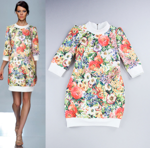 HIGH-QUALITY-Europe-Fashion-Floral-Jacquard-Runway-Catwalk-Dress-2014-Autumn-Woman-Three-Quarter-Sleeved-Casual