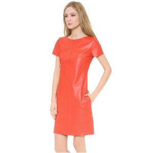 1395-Carven-Women-s-Short-Sleeve-Leather-Dress-3