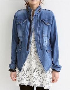 Female-stand-collar-denim-outerwear-woman-all-match-jacket-zipper-denim-jacket-coat-women-s-clothing