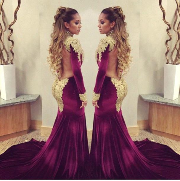 High-Neck-Mermaid-Evening-Dresses-font-b-Gold-b-font-Appliqued-Burgundy-font-b-Velvet-b