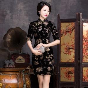 New-Arrival-Fashion-Chinese-Style-font-b-Dress-b-font-Women-s-font-b-Velour-b