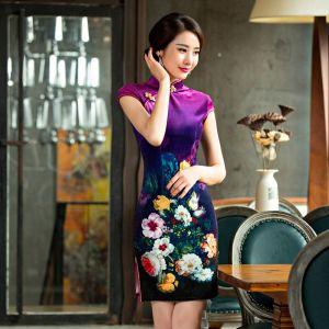 New-Arrival-font-b-Purple-b-font-Womens-font-b-Velour-b-font-Mini-Cheongsam-Fashion
