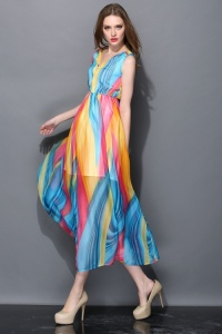 2014-New-Style-High-Quality-Summer-Brand-Runway-Striped-Print-Sleeveless-Ankle-length-Neon-Long-Dress
