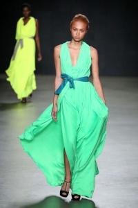 green-neon-dress-catwalk
