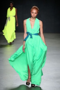green-neon-dress-catwalk