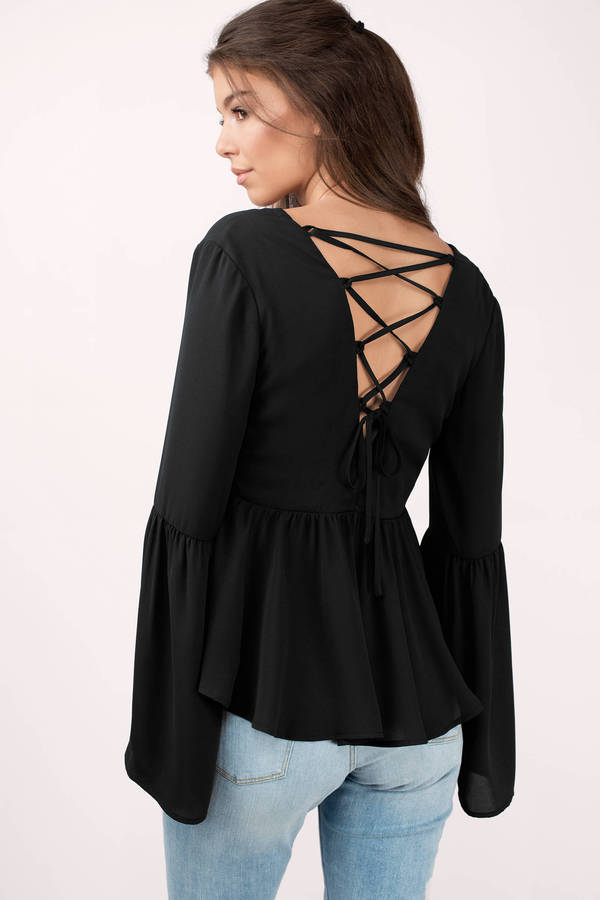 black-kalista-lace-up-blouse