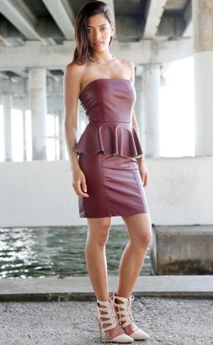 concrete-runway-burgundy-leather-peplum-dress