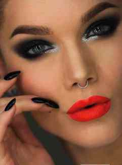 dark-orange-lipstick-with-bright-eye-makeup-for-blue-eyes-and-cover-eyebrow-and-beautiful-nose-ring