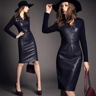 knitting-cotton-patchwork-leather-dress