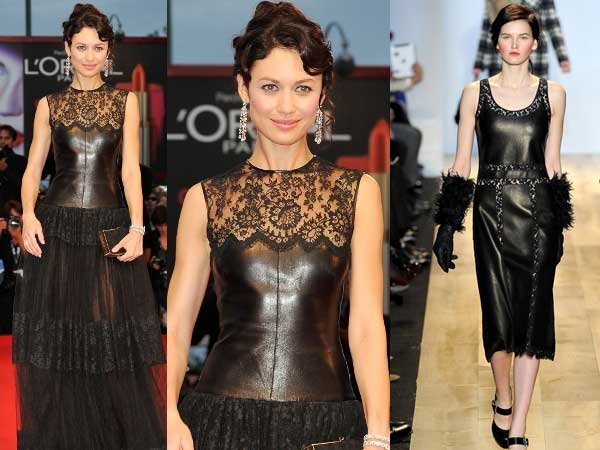 olga-kurylenko-valentino-leather-lace-dress-venice-film-festival-2012