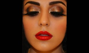 shimmery-bronze-eye-shadow-with-red-lipstick