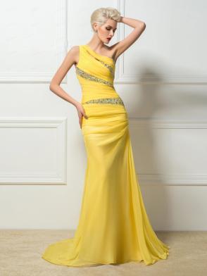 2016-fashion-light-yellow-chiffon-evening