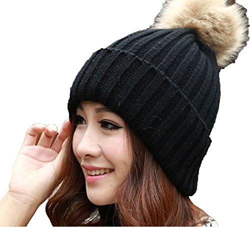 women-lady-winter-warm-knitted-crochet-slouch-baggy-beret-beanie-hat-cap-black-0