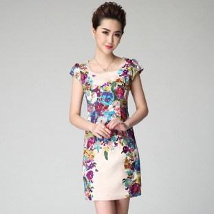 2015-New-Fashion-Summer-Women-Silk-Dress-embroidery-dresses-Floral-Print-Elegant-Ladies-Formal-Dress-Short
