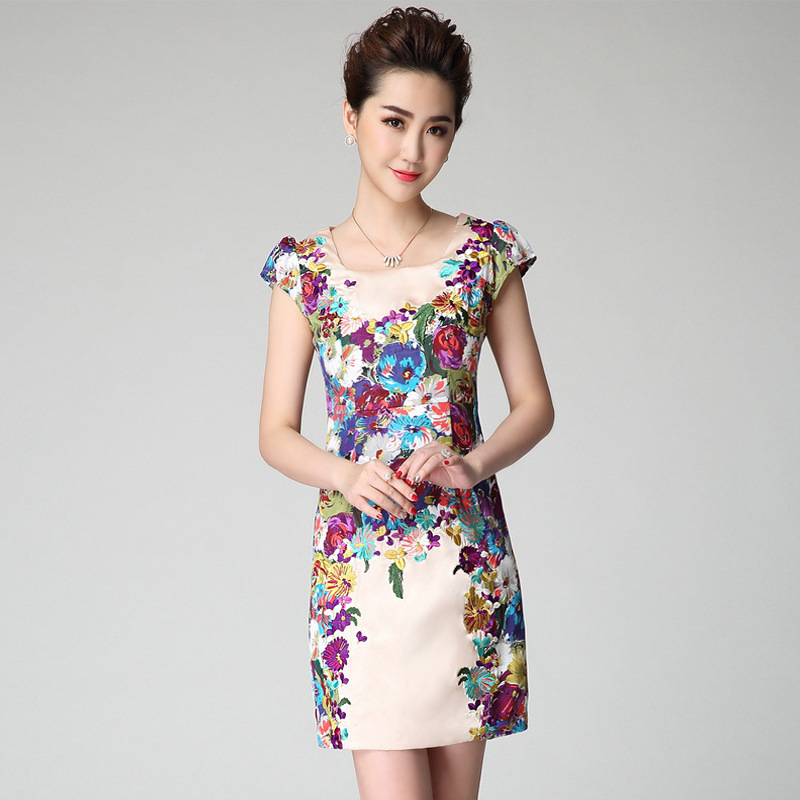 2015 New Fashion Summer Women Silk Dress Embroidery Dresses Floral