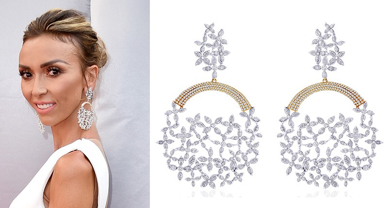 Giuliana Rancic donned an oversized pair of 18-karat white and yellow gold earrings, set with a total of 24.53 carats of diamonds, by
