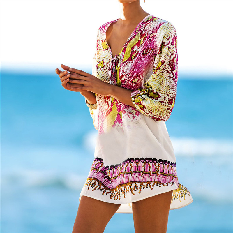 New-Arrivals-Beach-Caftan-Swimsuit-Cover-up-Print-Chiffon-Pareo-font-b-Women-b-font-Robe