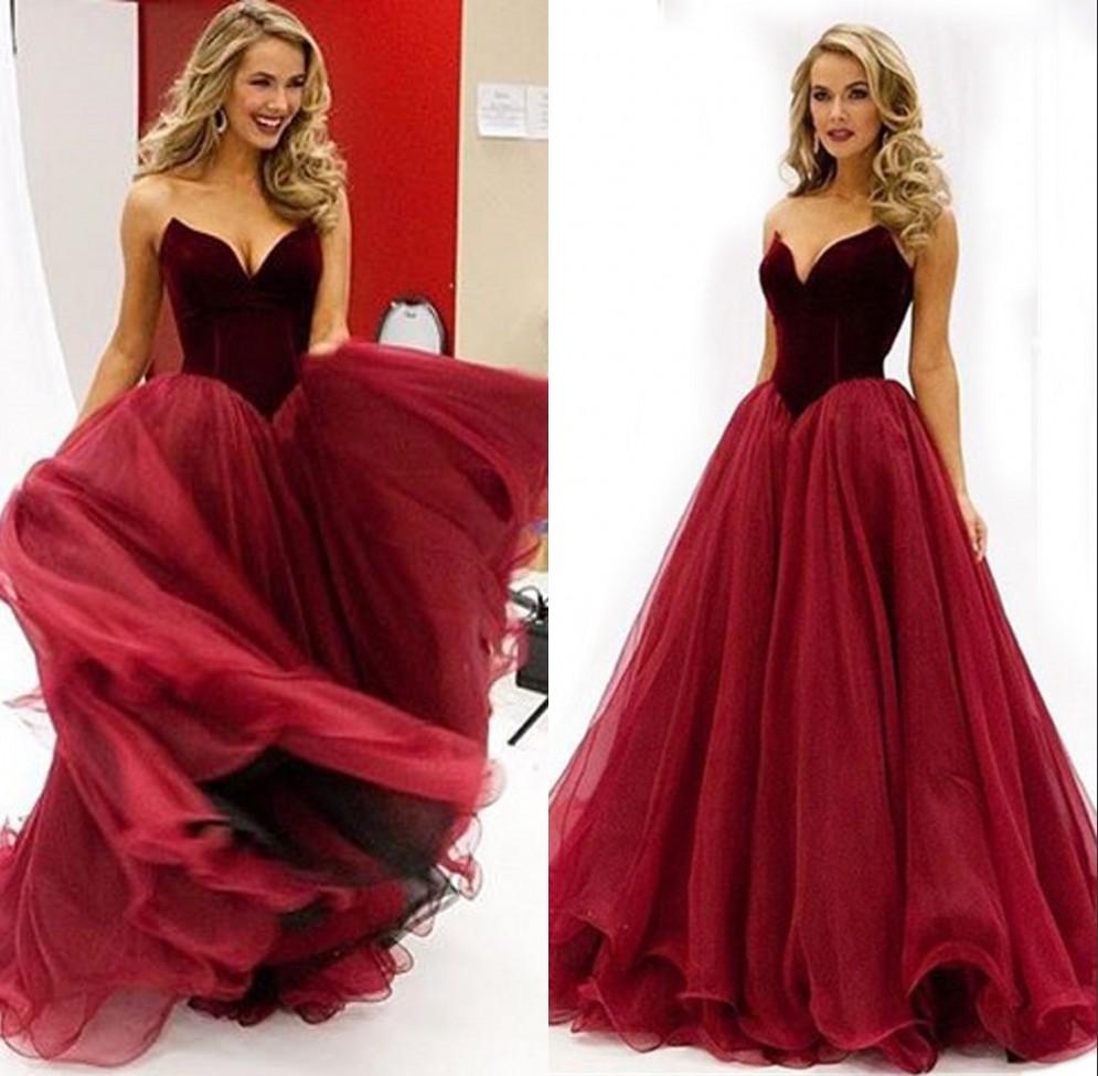 2017-Prom-Evening-Dresses-Burgundy-Velour-Top-Organza-Skirt-A-Line-Dark-Red-Formal-Prom-Gowns